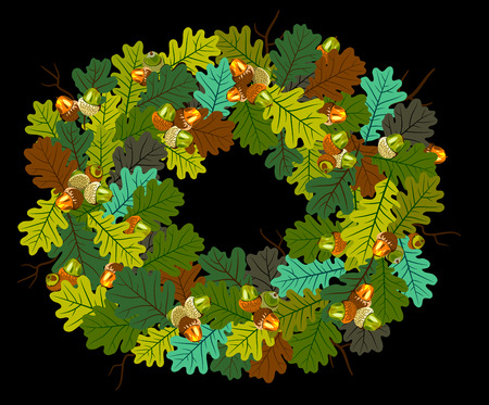 Wreath of multicolored autumn oak leaves and acorns Illustration