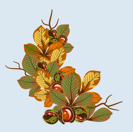 Card with autumn leaves and fruits of chestnut