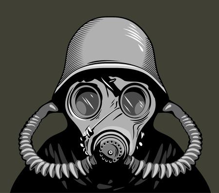 persona en una ilustración vectorial máscara de gas