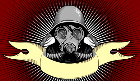 radioactive warning symbol: person in a gas mask and banner vector illustration Illustration