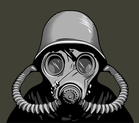 A soldier in a gas mask and protective helmet