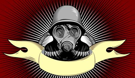 Un soldado en una máscara de gas y casco protector y la bandera