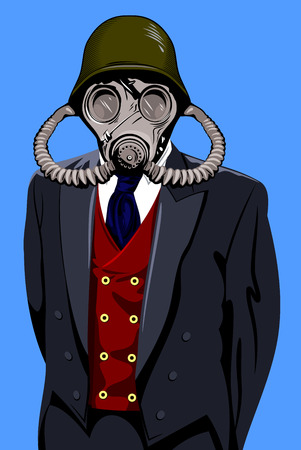 Portrait of man in gas mask and helmet, and in the mens suit