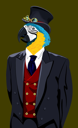 Portrait of a macaw parrot in a man's suit and top hat