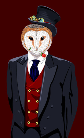 Portrait of an owl in a mans suit and top hat
