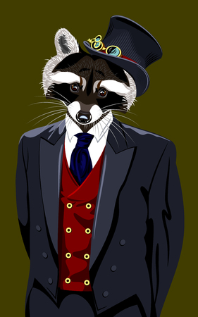 man's suit: Portrait of a raccoon in a mans suit and top hat