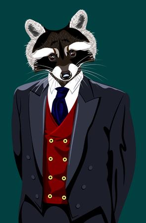Portret van een wasbeer in een man kostuum Stock Illustratie