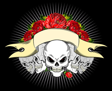 Human skulls and red roses with banner