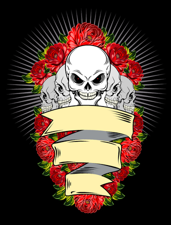 occultism: Human skulls and red roses with banner