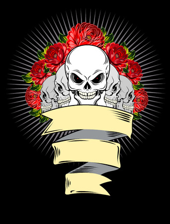 dissection: Human skulls and red roses with banner