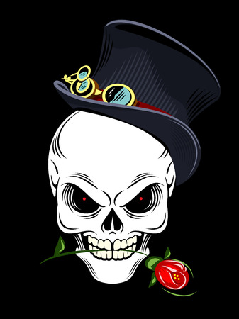 Human skull in top-hat holding a red rose in her teeth