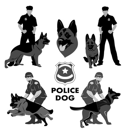 police dog: Set of icons with the image of a police dog Shepherd and cops