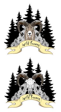 Ram on a background of skulls, forests and banner Illustration