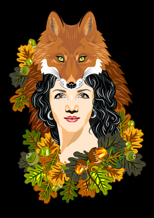A girl in a headdress with a muzzle foxes in oak leaves