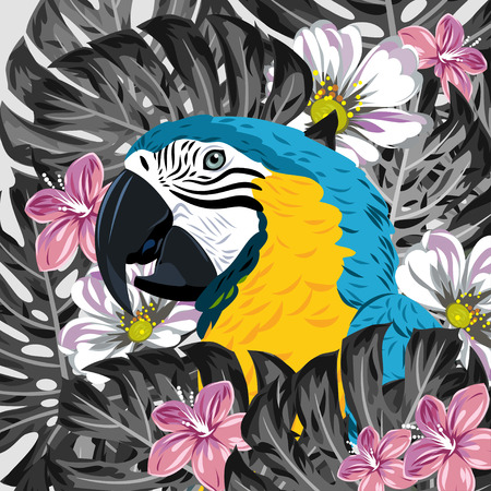 thickets: Macaw parrot in thickets of tropical leaves and flowers