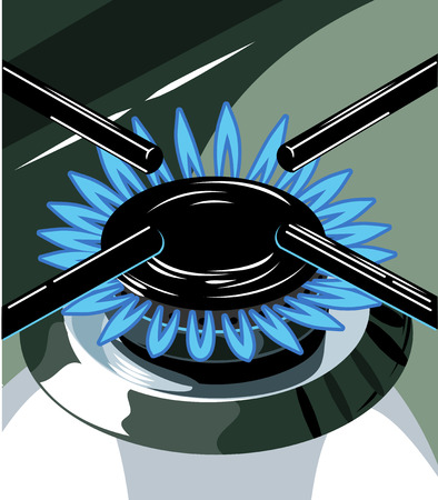 gas burner: Burning gas burner on the stove Illustration