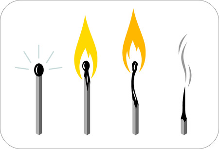 burning: Burning match, candle, icon