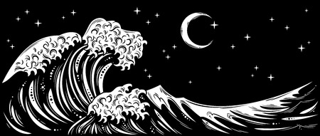 wind dramatic sky: Storm waves with foam and starry night sky and the moon