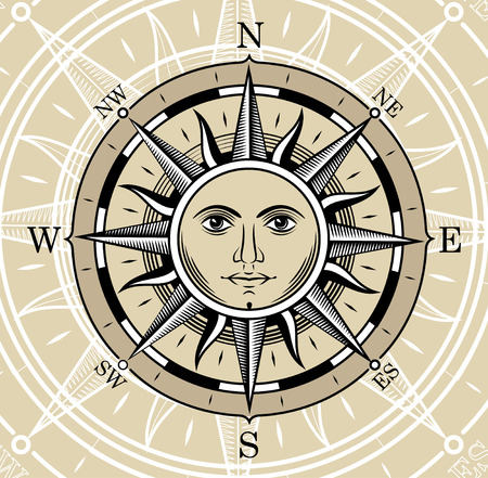 Compass in the form of the sun. The style of engraving. Illustration