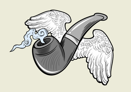 soar: Fuming pipe with wings. Vintage style, tattoo sketch