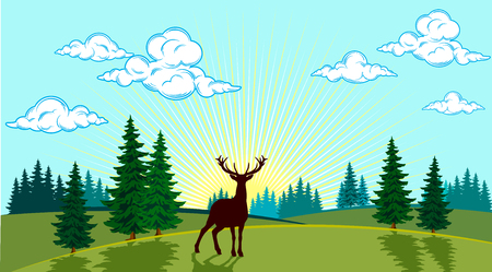 Summer landscape of the valley with a deer on the background of the sun