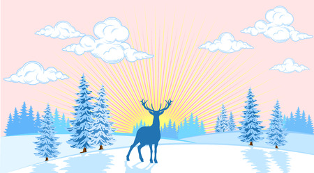 Winter landscape of plains with trees and deer on the background of the sun