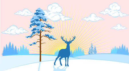 thickets: Winter landscape of plains with trees and deer on the background of the sun