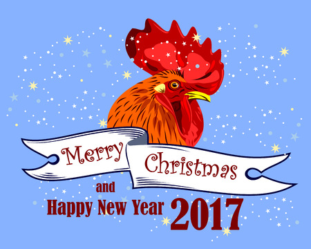 Image of elegant, beautiful rooster (symbol in 2017 by the Chinese calendar) Illustration