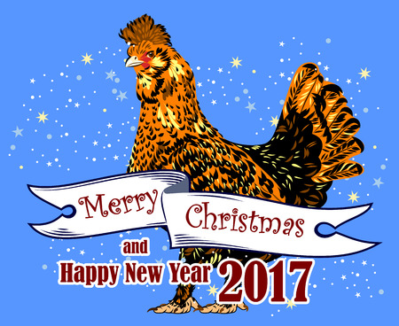 Image of elegant, beautiful, rooster (symbol in 2017 by the Chinese calendar)