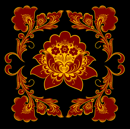 The traditional Russian floral pattern Khokhloma, painted elements