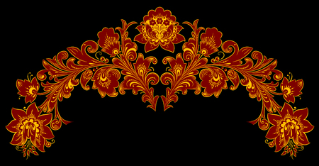 pastiche: The traditional Russian floral pattern Khokhloma, painted elements