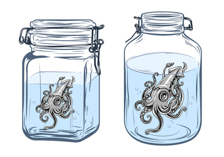 Bottles, round and square shapes, with a squid inside, freehand drawing
