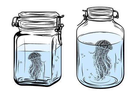 Bottles, round and square shapes, with a jellyfish inside, freehand drawing