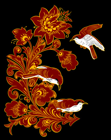 pastiche: The traditional Russian floral pattern Khokhloma, flowers and birds. painted elements