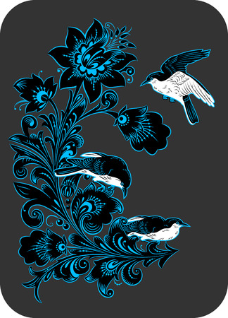 The traditional Russian floral pattern Khokhloma, flowers and birds. painted elements