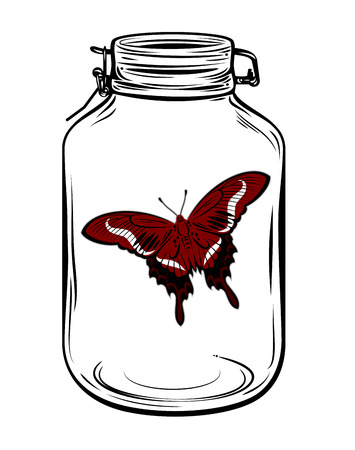 durable: Butterfly in a glass jar, freehand drawing
