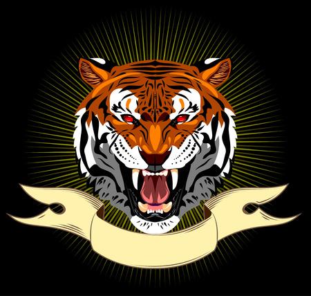 Portrait of a bared tiger banner background Illustration