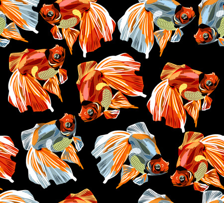 calico: Seamless pattern, background goldfish