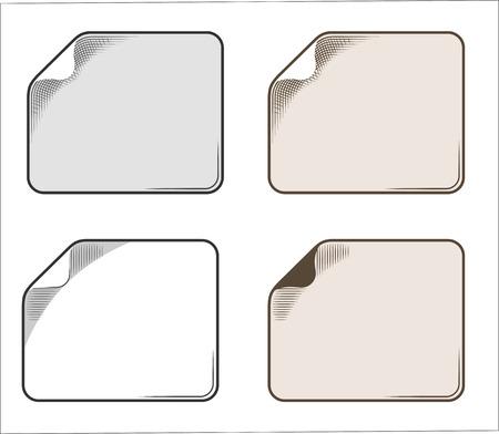 cor: Set paper sticker in vintage style, engraving Illustration