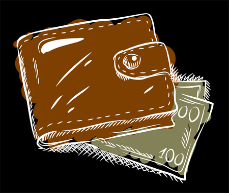 rivets: Leather wallet with notes, freehand drawing, doodle style Illustration