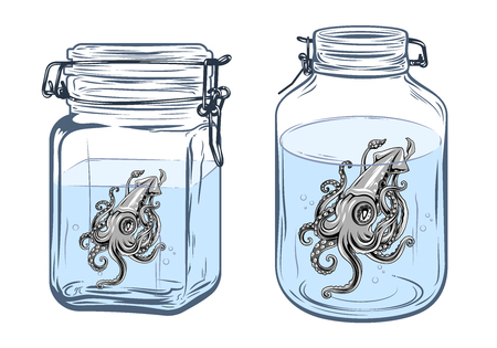 swimming glasses: Squid in a bottle