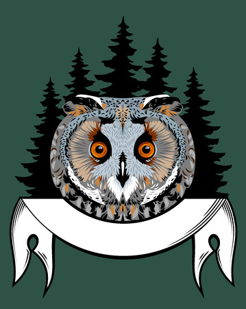 Portrait of an owl with a banner on the background of a dark forest