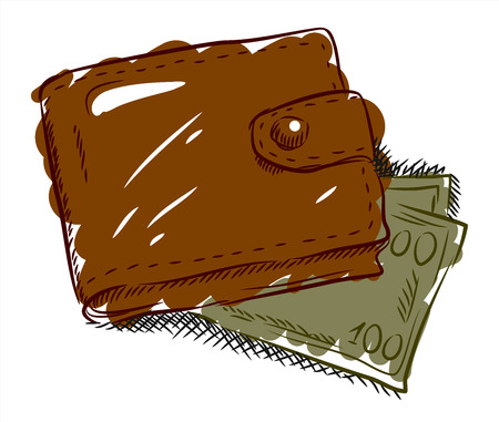 Leather wallet with notes, freehand drawing, doodle style Stock Photo