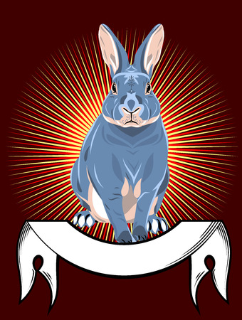 symbol victim: Portrait of a gray rabbit with banner Stock Photo