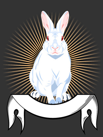 Portrait of a white rabbit with banner