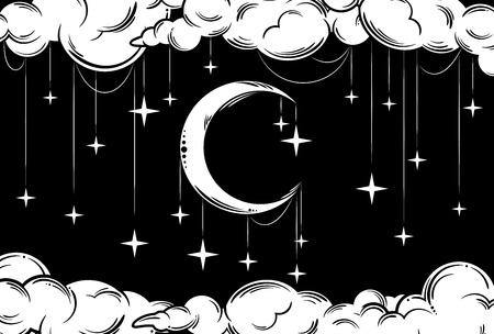A beautiful image of the night sky with a month, stars and clouds freehand drawing