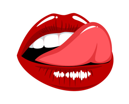 Female mouth with tongue licked his upper lip, sticker, icon Stock Photo