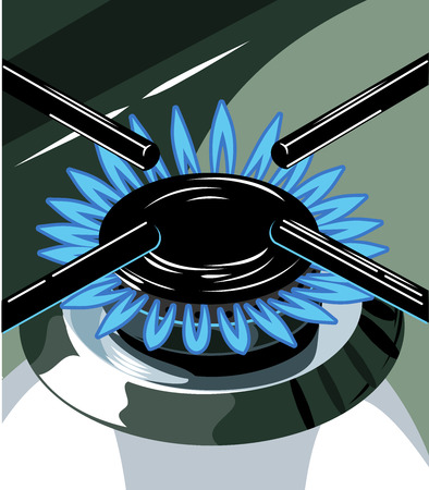 gas burner: Burning gas burner on the stove Stock Photo