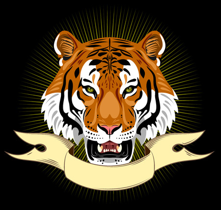 Portrait of a bared tiger on the background lights and banner