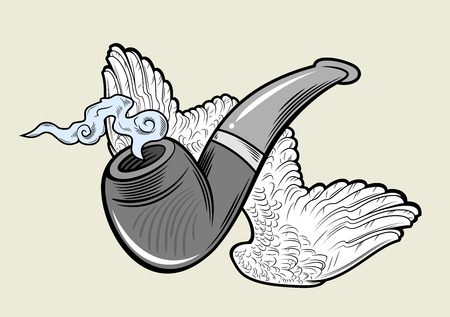 Fuming pipe with wings. Vintage style, tattoo sketch